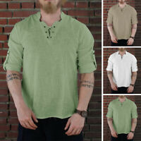 Men's Retro Medieval Renaissance Shirt Lace Up Tunic Shirts Cosplay Costume Tops