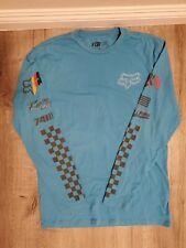 Fox Racing Division Certified Hellfire Mens Long Sleeve T-Shirt Blue Crew Neck