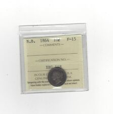 **1864**, ICCS Graded, New Brunswick Ten Cent, **F-15**