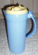 3 Pc TUPPERWARE Twist N Pour Pitcher ~ Blue with Yellow Lid/Seal ~ 37 oz ~ #3712