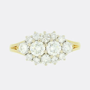 1.20 Carat Brilliant Cut Diamond Cluster Ring 18ct Yellow Gold