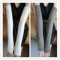 Women Stretchy Long Sleeve Fingerless Gloves Soft Arm Warmers Sleeves Winter
