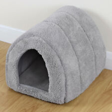 More details for soft grey pet cat/kitten dog/puppy fleece igloo bed warm house/tunnel/snug/pod