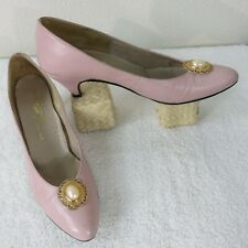 Vintage 50s Paradise Kitten Womens 7N Shoes PINK Leather Heels Pumps Made In USA