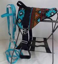 MINIATURE HORSE / SM PONY BAREBACK SADDLE PAD SET - TURQUOISE BLK INDIAN NATIVE