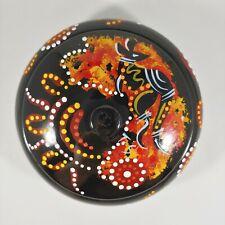 "HAND PAINTED Australian Aboriginal Orange & Black Kangaroo 5"" Trinket Box"