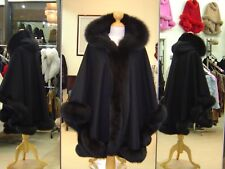 Black Cashmere Hooded Cape With White Fox Fur Trim Beautifully Canadian Label