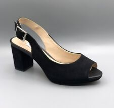 "NEW Clarks ""Kelda Spring"" Ladies Black Suede Heeled Sandals UK 5.5 D / EUR 39"