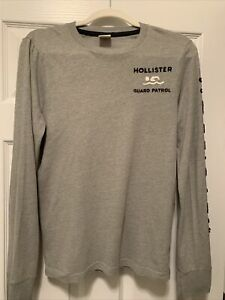 Hollister Guard Patrol Long Sleeved Gray Men's T-Shirt Sz Small