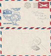 US 1947 AM 82 FIRST FLIGHT FLOWN COVER SAN ANTONIO TO HOUSTON