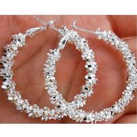 Hook Hoop Dangle Earrings Women Jewelry Hoops 925 Sterling Silver Plated Stars