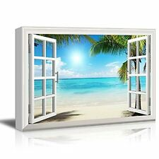 [Framed] Window Style Beach Sea Modern Picture Wall Art Canvas Prints Home Decor