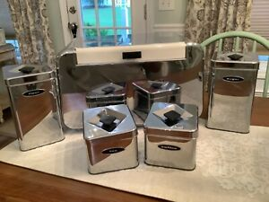 Vintage Mid-Century Chrome Masterware Metal Bread Box Breadette w/canister set