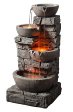 Outdoor Stacked Stone 3 Tiered Bowls Fountain with LED Lights Home Garden Ponds