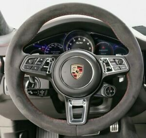 Porsche OEM 9Y0 Cayenne 2018+ Alcantara Steering Wheel With Red Stitching New