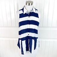 Splendid Women's Navy Blue Magnolia Striped Sleeveless Button Blouse Top Size XS