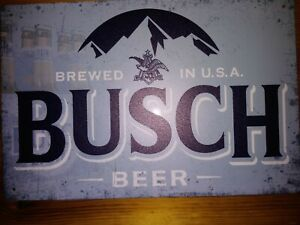 New Vintage Style Busch Beer Tin Metal Sign Anheuser Busch Old Logo 8 x 12 inch