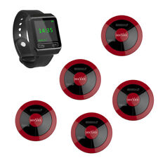 SINGCALL Wireless Restaurant Calling Waiter System 1 Watch, 5 Pagers APE320 Red