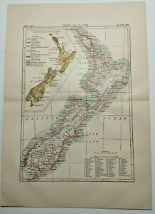 1894 Vintage NEW ZEALAND Atlas Map Authentic Antique Encyclopedia Britannica