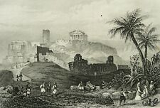 1850 Antique view of ATHENS, GREECE. 170 years old engraving.
