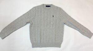Polo Ralph Lauren Men's Light Gray Cable Knit Pullover Crewneck Sweater