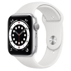 Apple Watch Series 6 44mm Aluminiumgehäuse-Silber mit Sportarmband in Weiß (GPS)