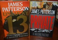 2 JAMES PATTERSON BOOKS FOR SALE NEVER READ: UNLUCKY 13 & PRIVATE # 1 SUSPECT