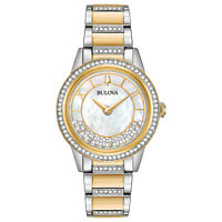 Bulova Women's Quartz Swarovski Crystal Accent Two-Tone 32mm Watch 98L245