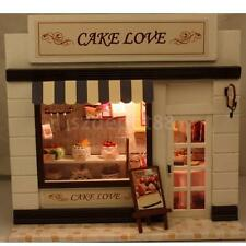 Wooden Dollhouse Miniatures DIY Store House Kit with Light Bakery Cake Shop