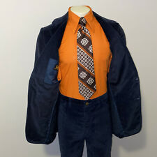 Vtg 60s 70s Lee Suit Velour Suede Mens 42 L Jacket Coat 33 31 Pants Navy Disco