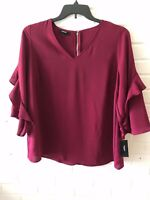 New Alfani Women's Knit Top V-Neck Zip Back Flounce Sleeve Berry 0X, 1X, 3X  G22