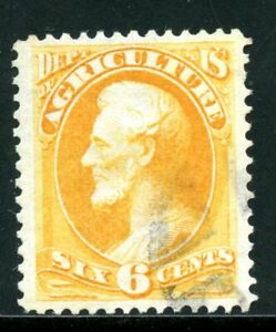 Scott's O 4, used, 6 cent Agricultural Stamp.