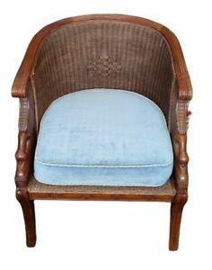 Vintage Mid Century Cane Barrel Back Arm Chair Louis XVI style cane office chair