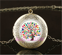 Vintage autism tree Photo Cabochon Glass Brass Locket Pendant Necklace