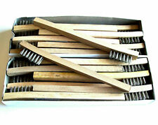 """24-PACK 8"""" LONG STAINLESS STEEL WIRE WOOD HANDLE BRUSH RUST & DIRT REMOVAL"""
