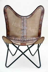 Handmade Brown Leather Canvas Butterfly Chair Living Room, Bedroom, Home