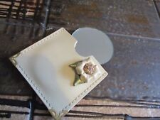 VTG KITSCH UNUSUAL POCKET HANDBAG MIRROR IN LEATHER 3D FLOWER CASE 60s 80s