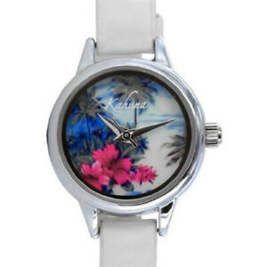 Kahuna Womens Watch - Hawaiian Tropical Sunset Dial and White Leather Strap