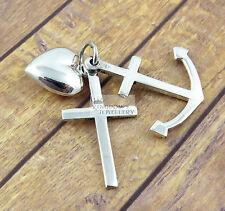 925 Sterling Silver Anchor Cross Heart , Faith, Hope Love pendant