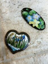 New ListingJapanese Ginbari-Foil Cloisonne Enamel Belt Buckle Iris and Pin with Flowers