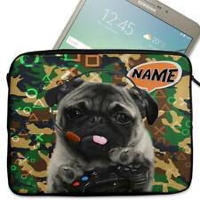 "Personalised Tablet Case CAMO GAMER PUG Neoprene Sleeve Cover 7"" 8"" 9"" 10"" 11"""