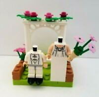 Lego Wedding TALL Bride Groom Display Bouquet Pink White YOU CUSTOMIZE HEAD Hair
