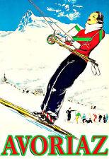 Kunst AD Avoriaz Ski Skifahren Winter Reise Deko Poster Print