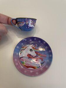 Lisa Frank Inspired Happy Unicorn mini Metal Tea Cup and Plate