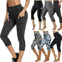 Womens 3/4 High Waist Capri Yoga Leggings Gym Fitness Running Pants With Pockets