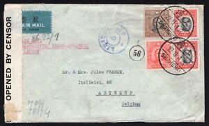 CHINA-1941 WWII double censor airmail cover-Belgium HK & Lisbone-Trans Paci&Atla