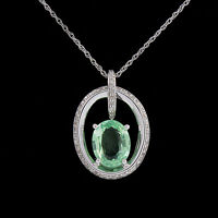 Peridot & Simulated Diamond Dancing Pendant 14k Gold Over 925 Sterling Silver