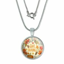 """Pendant w/ Silver Plated Chain Give Thanks Thanksgiving Pumpkins 0.75"""""""