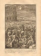 1770  ANTIQUE PRINT -BIBLE-AND THEY SAID GO TO,LET US BUILD US A CITY