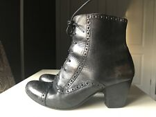 Bertie Ladies Women Designer Ankle High Heel Boot Brown Black Leather Size 3 36